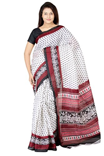 The Chennai Silks - Lichi Printed Saree - Bright White - (CCPSY195)  available at amazon for Rs.355