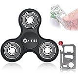 Waitiee Fidget Hand Spinner Roulement En acier Haute Vitesse - Tourne 1 + Minute - Jeu Sensoriel Tri-Spinner Fidget Toy Enfant ou Adulte