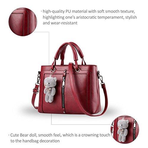 Nicole&Doris 2017 nuova borsa borsa a tracolla grande messaggero borsa donna borsa(Gray) vino rosso
