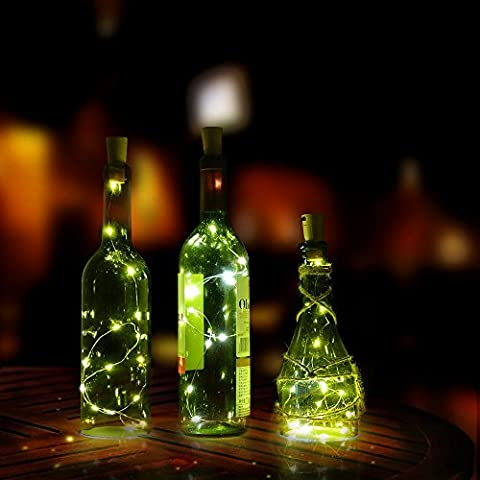 Cork shape lights, AGPtek 3PCS Bottle Mini String Lighting 75cm/30inch Copper Wire light Starry Light For Bottle DIY, Christmas Wedding and Party Halloween (Bianco)