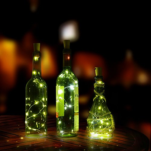 Flaschenlicht, AGPtek Weinflaschen Lichter 3-teilig Kork Flasche Mini-Lichterkette Flaschenbeleuchtung 75cm Kupferdraht Licht Sternenlicht für Flasche DIY, Weihnachten Hochzeit und Party Halloween