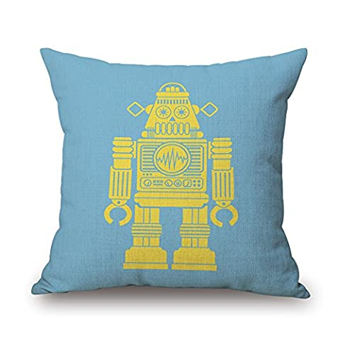 MaxG Home Decor Cotton Linen Design Robot Pattern Blue Square Throw Pillow Cases Cushion Covers For Sofa Bed 18X18 inches