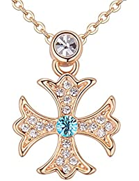 NEVI Czech Crystals Champagne Gold Plated Jesus Cross Pendant Chain Jewellery For Girls & Women