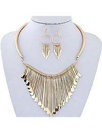 Mingfa.y_Necklace Gold: Collar Bib Statement Necklace Earrings Set Mingfa Women Girls Metal Tassels Pendant Chain...