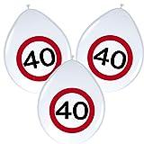 8 Luftballons * 40. GEBURTSTAG * mit Verkehrsschild-Design // Set Balloons Ballon Decoration Deko Jubiläum Vierzig Jahre