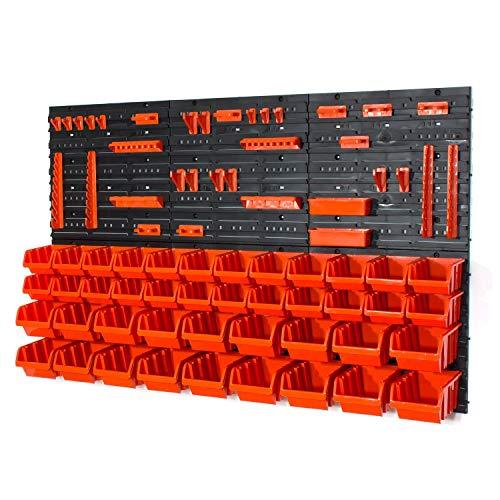 Set aus 48Elementen + Haken mit IN-Box Behältern, Farbe: orange, Größe: 2 und 3,POP-Serie