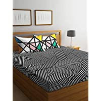 Portico Marvella Printed Queen Bedsheet Set, Black/White, 224 X 254cm, 8045231, 3-Pieces