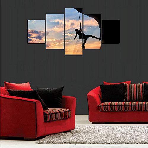 Fffjjsss Modulare Kunstwerk Gedruckt Rahmen Wandkunst HD Leinwand Poster Dekoration 5 Panel Sky of Climber Wohnzimmer Modulare Bilder Malerei -