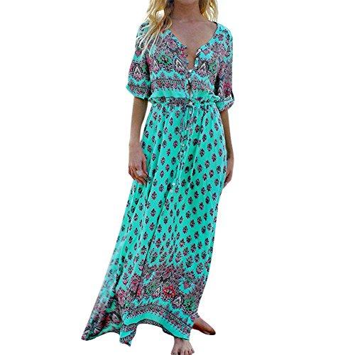 West See Damen Böhmen Kleider Böhmisch Boho Maxi Beachwear Strand lang Kleider Dress Casual V-Ausschnitt Retro A-Linie Blumen Bunt Ethno