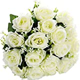 SOLEDI Artificial Flowers 18 Heads Solid Color Simulation Roses For Wedding Party Home Decor (White)