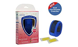 Safe-O-Kid Anti Mosquito Multi Year Reusable Band with 2 Refills and 6 Anti Mosquito Patches (Blue)
