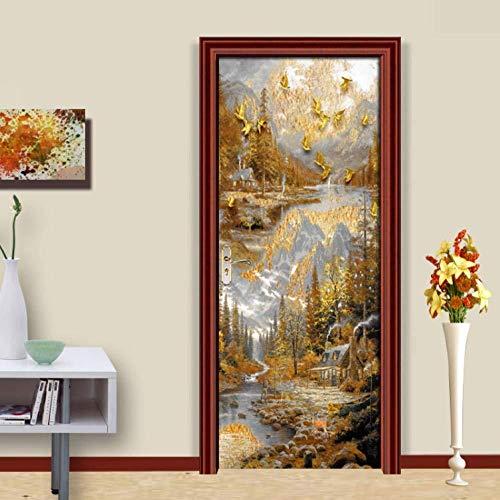 MISYZ 3D Tür Aufkleber Vorort Landschaft Wandbild Kunst Aufkleber Poster PVC Selbstklebende wasserdichte Abnehmbare Wandtattoos für Wohnzimmer Schlafzimmer Kinderzimmer Wohnkultur 77x200 cm