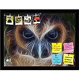 ArtzFolio Brown Wood Owl Printed Bulletin Board Notice Pin Board cum Black Framed Painting 15.8 x 12inch