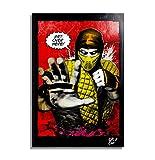 Scorpion del Videojuego Mortal Kombat - Pintura Enmarcado Original, Imagen Pop-Art, Impresión Póster, Impresion en Lienzo, Cuadro, Cómics, Cartel de la Película, Artes Marciales
