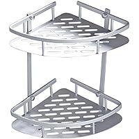MyLifeUNIT montaje en pared baño estantería esquinera de ducha, baño de aluminio bandeja organizador rack con 2ganchos