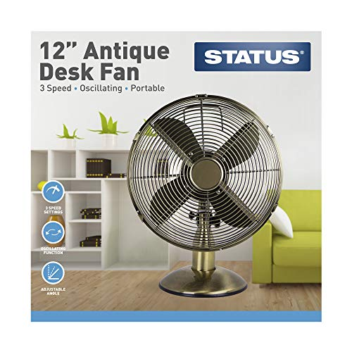 "51bRIZ8%2BHJL. SS500  - Status S12ADESKFAN1PKB Oscillating Antique Brass Desktop Fan, 12"""
