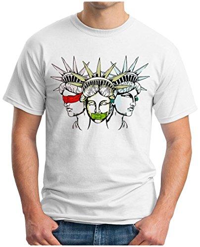 OM3® - USA Justicia - T-Shirt Truth Honor Justice Peace Lady Liberty New York Manhattan 911 America Geek, L, Weiß
