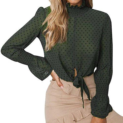 Baiggooswt Blusa de Gasa con Estampado Floral y Manga Larga con Lazo Corto para Mujer, S, Verde
