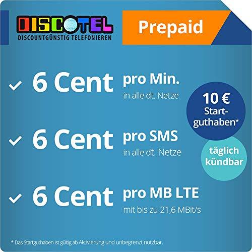 discoTEL LTE Prepaid 6 Cent inkl. 10 Euro Startguthaben - täglich kündbar (6 Cent pro Minute, 6 Cent pro SMS, 6 Cent pro MB)