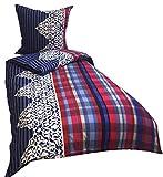 Leonado Vicenti 4 Teilige Bettwäsche Mikrofaser 2 x 135x200 cm Bettbezug + 2 x 80x80 cm Kissenbezug Ornamente weiß kariert blau rot mit Reißverschluss