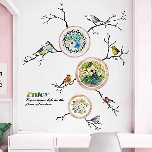 andaufkleber Fantasie Meer Welt Mediterranen Stil Wohnzimmer Schlafzimmer Nacht Selbstklebende Malerei Vogel Lied Blume Wandaufkleber ()