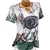 JUTOO Frauen Plus Size Windbell Print V-Ausschnitt Kurzarm Tops Shirt