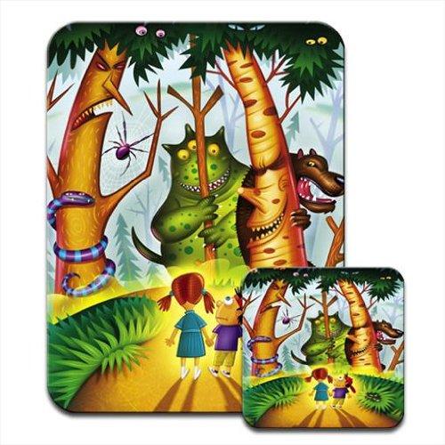 ENFANTS dans la forêt entouré de Big Monsters Ensemble tapis de souris et dessous de verre