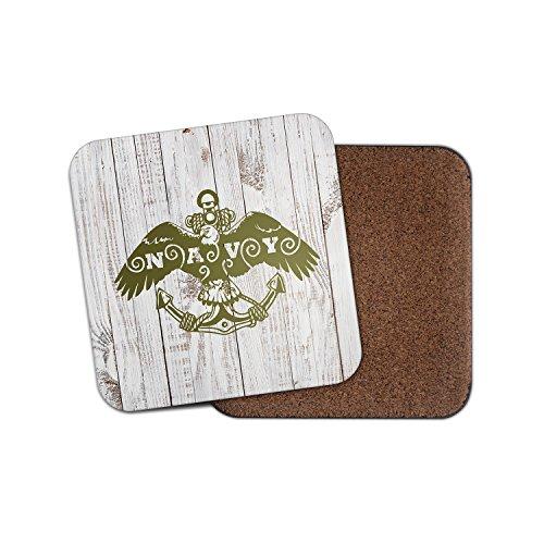 NAVY ANCHOR Eagle Kork Getränke Untersetzer für Tee & Kaffee # 4142, holz, 4 Coaster Navy Coaster