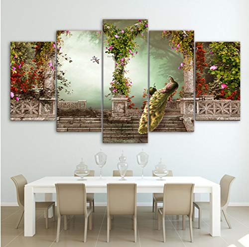 Wiwhy Wandkunst Gedruckt Bilder 5 Stücke Paar Gemälde Romantische Vintage Gebäude Modular Poster Wohnkultur-20X35/45/55Cm