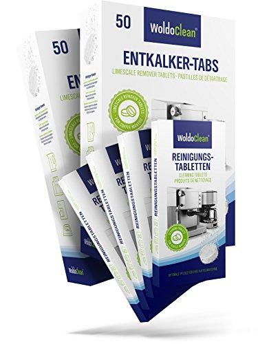 WoldoClean I Reinigungset I 100x Entkalkertabs I 40x Reinigungstabletten I Für Kaffeevollautomaten...