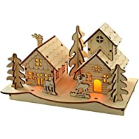 WeRChristmas Pre-Lit Church Scene Christmas Decoration, Wood, 20 cm, Warm White - Multi-Colour