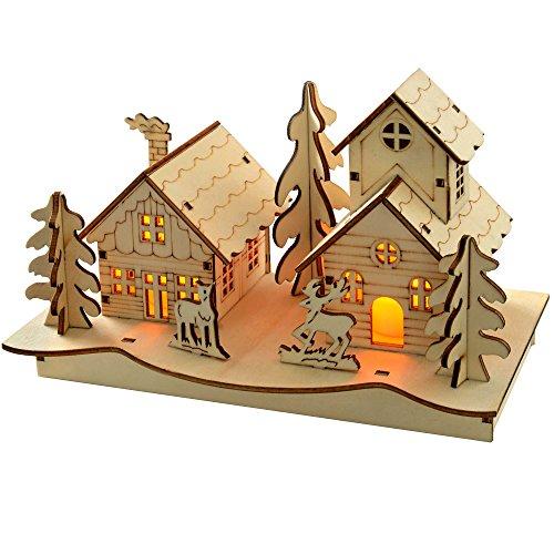 WeRChristmas Décoration de Noël Scène d'église, Bois, 20 cm, Blanc Chaud - Multicolore