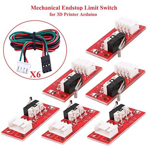 Innovateking-EU 6 Piezas Interruptor de Fin de Carrera mecánico, con 3Pin 70cm Cable de 20 AWG para Impresora 3D Makerbot Prusa Mendel RepRap CNC Arduino Mega 2560 RAMPAS 1.4 LKB01