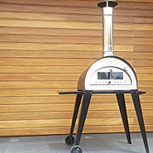 Hogar Decora Horno a leña portátil, de Acero Inoxidable y ladrillo refractario, Modelo Carpe