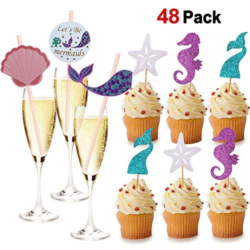 Konsait Meerjungfrau Glitter Cake Toppers Cupcake Tortenstecker und Papier Trinkhalm für Meerjungfrau Baby Shower, Mädchen Geburtstags Party, Bridal Shower Dekorationen, 48 Stück (Kleine Die Meerjungfrau-dekor)