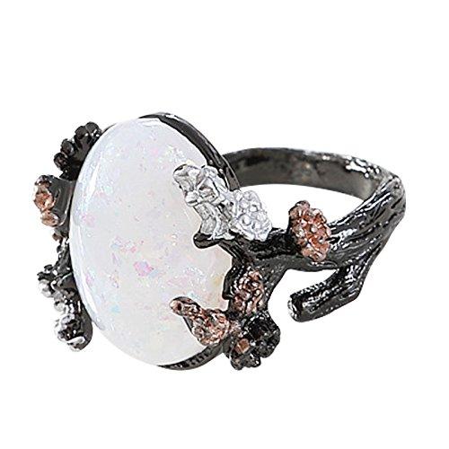 SODIAL Vintage Ring Weiss Feueropal Blume Frau Geschenk Hochzeit Verlobungsring Groesse 9 (Größe Vintage-ringe 9)