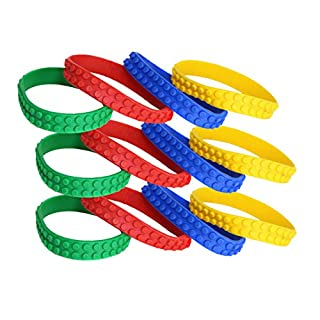 Building Block Bracelets - Set Of 12 Novelty Bracelets For Prizes And Party Favors