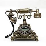 rétro téléphone Européen Antique Retro Téléphone fixe Téléphone classique Téléphonie Téléphone fixe Décoration de la maison Téléphone (Aucune alimentation externe requise. L'écran LCD fonctionne directement avec le courant sur la ligne téléphonique)