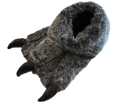 Garçons Et Hommes Monster Pince Yetti Foot nouveauté Chaude Duveteux Pointure À Enfiler UK 1-12 - Gris Noir, Hommes EU 43-44.5