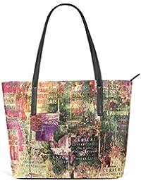 COOSUN Grunge bandes de fond PU Sac à bandoulière en cuir et sacs à main sac à main sac fourre-tout pour les femmes Moyen multicolore GxK4ydju6