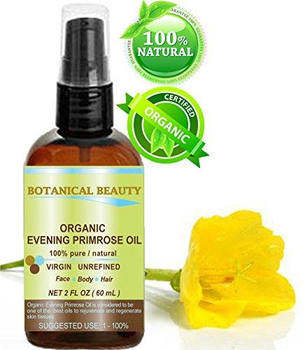 Huile d'Onagre BIO. 100% / organique / Froid certifié naturel pur non dilué non raffiné l'huile pressée. Antioxydant riche pour rajeunir et hydrater la peau et les cheveux - 60 ml.