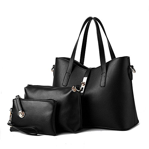 koson-man-womens-3-in-1-pu-leather-sling-vintage-zipper-tote-bags-top-handle-handbagblack