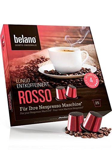 25 Stück Nespresso kompatible Kapsel Capsule Rosso Stärke 4 koffeinfrei Lungo Caffe Crema 100{67e6cb9435179b6c6795facca105d85b5c52b96674e9427327d06ed094d13ad1} Arabica Kaffee-Kapseln kompatibel mit Nespresso-Maschinen* entkoffeiniert