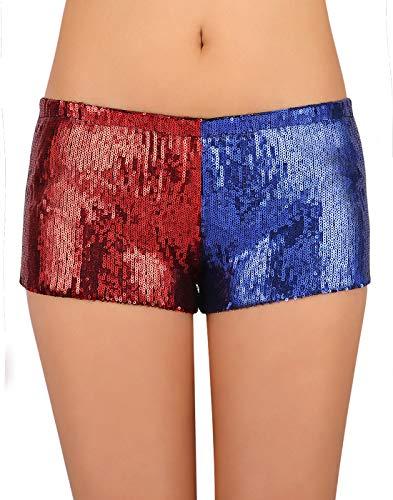 HDE Damen Hose mit Pailletten, Rot und Blau, Metallic, für Harley Misfit Halloween Kostüm - Rot - Klein