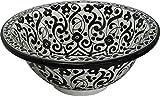 Orientalisches handbemaltes Keramik Waschbecken - Marrakesh Black & White - Gemalt innen heraus Di 40 H 16 cm