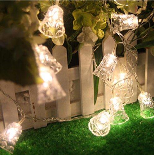 Eplze Lumières de Feux de Décoration LED 100 LED Cloches sur 10m Lampes à Cordes for Fête Mariage Noël Festival (Blanc chaud) ...