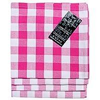 Homescapes Set de 4 servilletas de algodón a cuadros en rosa y blanco 45 x 45 cm