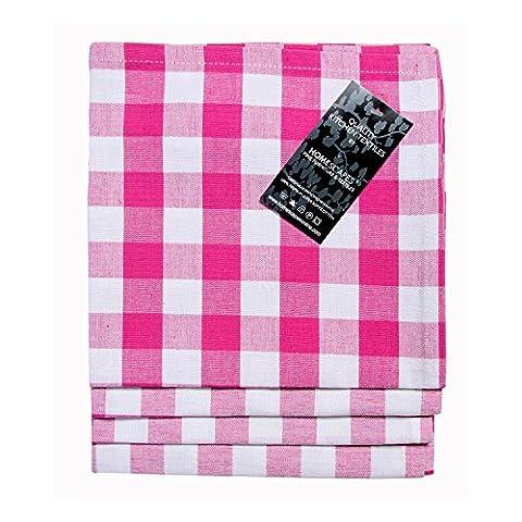 Homescapes Servietten Set Block Check 4tlg pink weiß kariert 45