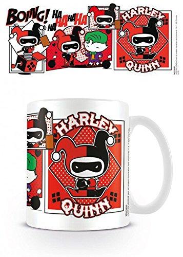 Set: Justice League Of America, Harley Quinn Comic Chibi Tazza Da Caffè Mug (9x8 cm) E 1 Sticker Sorpresa 1art1®