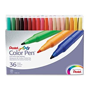 Pentel S360-36 Felt Tip Colour Pen 36-Piece Set Assorted